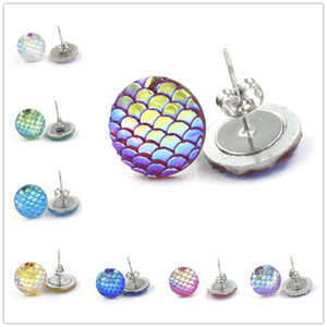 Wholesale Fashion Drusy Druzy Earrings Stainless Steel MM Mermaid Scale Fish Dragon Scale Earrings Stud Earrings For Women Lady Jewelry