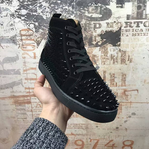 Free shipping 2017 new arrival mens womens black genuine leather with spike studded high top sneakers,designer flat causal shoes 36-46