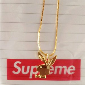 Wholesale Superme Rabbit Necklace Pendant for Men Women K gold necklace Hiphop BRAND Charm Franco Chain Hip Hop Golden Jewelry Christmas Gifts