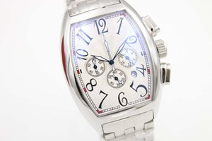 Special Sale Frank Quartz Watch Men Chronograph White Big Dial Stainless Band Sport Watch Montre Homme