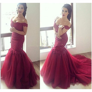 Wholesale Red Lace Mermaid Celebrity Evening Dresses Organza off-shoulder Train holiday Gowns for Special Occasion formal Prom evening dress