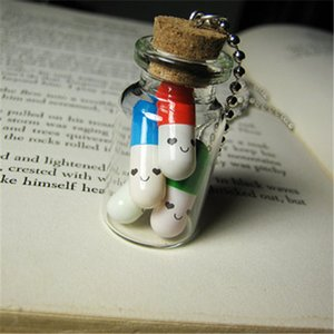 Wholesale 12pcs Smiling Capsules necklace Cork Vial glass Bottle Pendant