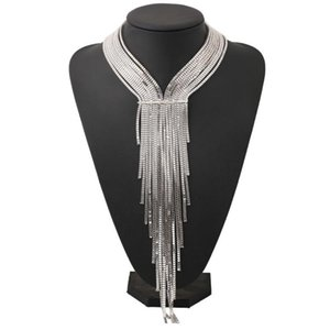 Wholesale 2019 Punk Silver Plated Long Tassel Choker Necklaces for Women MultiLayer Crystal Chains Necklaces Statement Fashion Jewelry Accessories