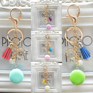 Wholesale Hot Sale Macaron Cake Key Chain Tassel Keychain Zircon Imitation Pearls Key Ring Car Keyring Women Handbag Charms Accessories B803Q