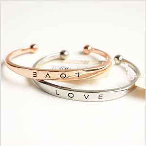 Wholesale Fashion Alloy texture female minimalist love Bangles bracelets Gold Silver Rose Gold colors Valentine s Day Gift