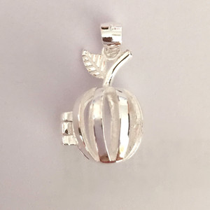 Wholesale sterling apple necklace for sale - Group buy Solid Silver Apple Locket Charm Can Open Cage Pendant Sterling Silver Pendant Mounting For DIY Bracelet Necklace Jewelry