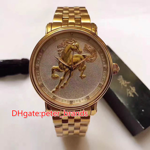 Wholesale chinese zodiac gold resale online - 12 zodiac animals with Chinese characteristics horse face full rose gold case automatic men watch mm glass back cover fashion style watch