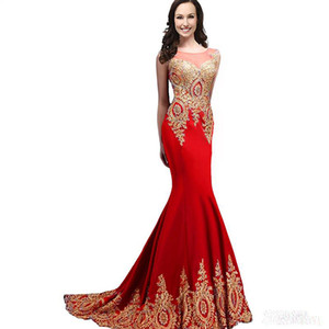 Mermaid's formal evening dress gold lace decals 2016 sexy new boat collar pendulum long formal prom dress evening gown woman on Sale