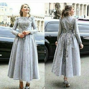 2019 New Arabia Long Evening Dresses Lace Appliqued Long sleeves with Exquisite Embroidery Dubai Party Dresses Middle East Style 281 on Sale