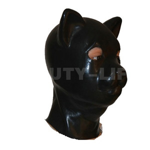 Wholesale hot male sex bondage resale online - Hot sale sex product New male female natural latex bondage cat head mask eyepatch gagged headgear hood adult BDSM toy bed game set