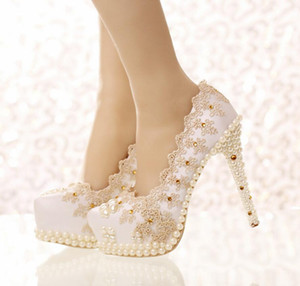 Wholesale Champagne Lace Cinderella Shoes Pearls Fashion Bridal Bridesmaid Wedding Shoes Prom Evening Night Club Party Super High Heels