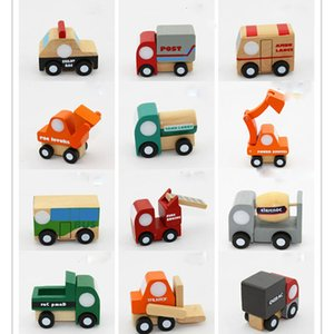 Wholesale 12pcs Mini wooden car airplane Educational Soft Montessori wooden toys for children with gift box birthday present for boys XT