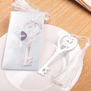 Wholesale Metal quot Key to my Heart quot Heart shaped Key Bookmark with White silk Tassel wedding party Gifts favors WA1849