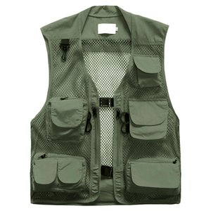 New Breathy Outdoor Fishing Vest Summer Hunting Vest Jackets Multi-pockets Photography Working Wear Vest Men Waistcoats