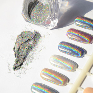 Wholesale-1g Laser Silver Holographic Nails Glitters Powder DIY Nail Art Sequins Chrome Pigment Dust Shiny Magic Laser Mirror Powder Nails