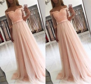 2017 New Cheap Pink Lace Appliques Prom Dresses Half Sleeves Off Shoulder Tulle Bow Plus Size Pageant Party Dress Formal Evening Gowns on Sale