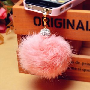 Wholesale New arrival Promotion Earphone Jack Plug Crystal ball Rabbit Fur Dust Plug Mobile Phone mm Earphones Hole Cell Accessories