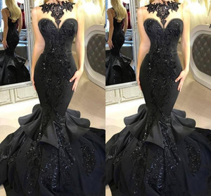 Sexy Black Sequins Mermaid Dresses Evening Wear Vintage Long 2019 Lace Applique Beaded Ruffles Prom Gowns Illusion Neck Formal Party Dress on Sale