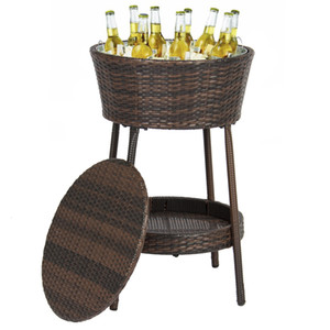 Wicker Ice Bucket Outdoor Patio Furniture All-Weather Beverage Cooler with Tray on Sale