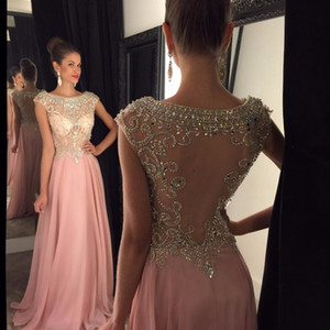 Chiffon Sexy Sparkly Long Prom Dresses Scoop Galajurken Sheer Back 2019 Crystal Beaded Sweep Train Formal Evening Party Gowns on Sale