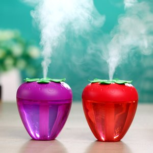 Wholesale Cute Fruit Strawberry USB Humidifier for Home Car Mist Maker Fogger with LED Night Light Strawberry Humidifier Air Purifier Fresher Diffuser