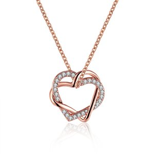 Wholesale Rose Gold Plated Double Heart Rhinestone Pendant Fashion Necklace for Girl Friend for Gift