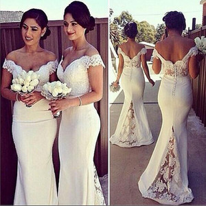 Wholesale Elegant Long Formal Dresses for Women Lace Off Shoulder Mermaid Sweep Train Corset Bridesmaid Dresses Covered Button Back Sweep Train