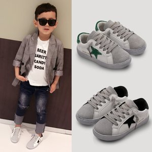 Wholesale Leather section Children shoes fashion five pointed star comfortable soft bottomed boys and girls black sneakers kids sport shoes