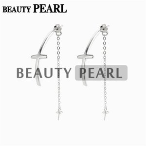Wholesale earring threads resale online - Chain Thread Earring Findings Cross Sterling Silver Drop Chain Earring Base Pearl Settings Pairs