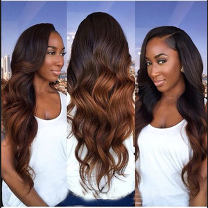 Two Tone 4 30# Body Wave Dark Brown Human Hair Weave 3 4 Bundles Wholesale Colored Brazilian Ombre Remy Human Hair Extension Deals