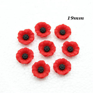 200pcs Chic Resin Red Poppy Flower Artificial Flower Flatback Embellishment Cabochons Cap for home decor 19mm