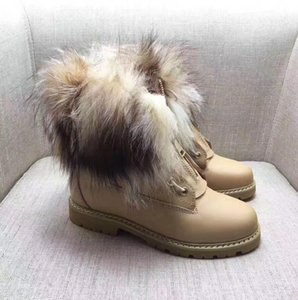 Wholesale high quality Real Fox Fur Ankle Boots Genuine Leather Women Shoes Woman Winter Snow Boots Warm Fashion Russian Boots Wool New Bootie