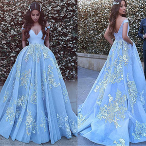 Wholesale Off the shoulder Neckline Ball Gown Evening Dresses With Beaded Lace Appliques Blue Prom Dress vestido formatura party dress