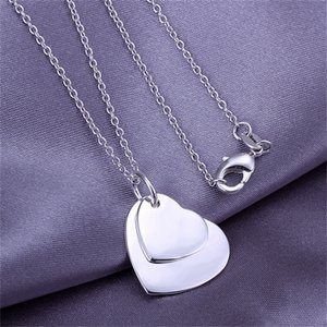 Wholesale 10PCS Sterling silver plated Double flat heart Pendant LKNSPCP084