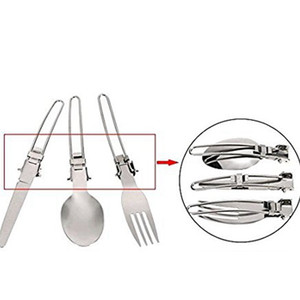 3 in 1 high quality Foldable Outdoor Camping Picnic Tableware High Quality Stainless Steel Folding Fork on Sale
