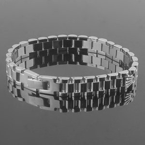 Beichong Fashion Brand Jewelry Stainless Steel 10MM Wide Watch Chain Crown Bracelets, Charms Tank Chain Pulseiras fine jewelry joias