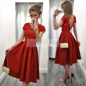 Wholesale Red Homecoming Dress Short Sleeve Backless A Line New Lace Party Cocktail Gowns Satin Draped Custom Made Beads Tea Length Hot Sale