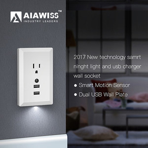 Wholesale AIAWISS LED Night Light with Automatic Dusk to Dawn Sensor and V A Dual USB Wall Outlets Charger Wall Socket Adapter Plug White Black