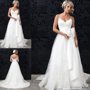 Wholesale buy gold china resale online - Cheap Backless Beach Wedding Dresses Custom Made Robe De Mariee Spaghetti Straps A Line Bridal Gowns Buy From China