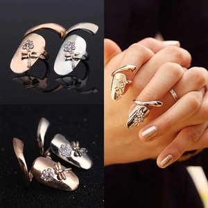 Wholesale Delicate K Gold Silver Plated Ring for Women Finger nail Rings With Crystal Dragonfly Fashion Punk Rings for teen girls Fine Jewelry