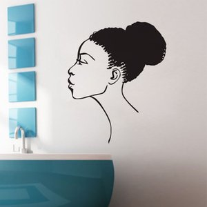 Wholesale african home decor walls for sale - Group buy sexy Africa African Girl wall stickers home decor removable vinyl wall decals beauty salon wall murals