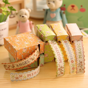 Wholesale Self adhesive Lace Paper Tape Cute Cartoon Adhesive Ornament Mark DIY Craft Tools Wedding Birthday Festival Decoration Masking Tape M