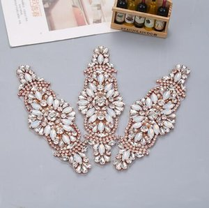 Wholesale 1PIECE Handmade Rhinestones Appliques Sewing On Wedding Dresses Belt Sashes Rose Gold Protein Beads DIY Bridal Accessory