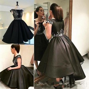 2019 Elegant Black Evening Dress Scoop Neckline Cap Sleeves Custom Made Formal Prom Dresses Cheap Satin Beaded A Line Tea Length Party Gowns on Sale