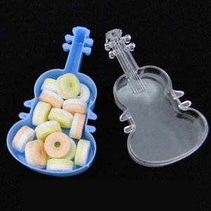 Wholesale baby shower decors resale online - Lovely Plastic violin candy box Baby Shower Party Decor gift box Supplies wedding Birthday Party Favors boxes ZA4977