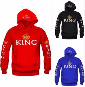 Wholesale King and Queen Couple Hoodies Long Sleeve Letters And Crown Pullover Raglan sleeve lovers Printed Hoodie Tracksuits Hooded Sweatshirts