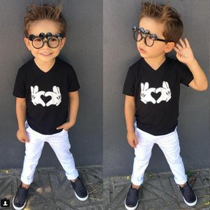 Kids Loving heart gesture printing T shirt 2pc set black print top+white pants boys summer short sleeve T outfits 1-4T