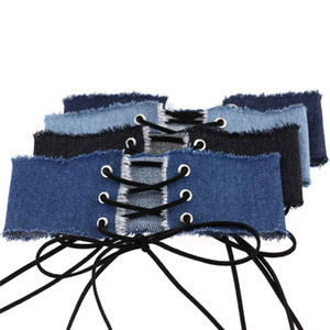Wholesale Women Denim Choker Gothic weide lace Up Sexy Choker punk jean collars Chocker Big Chunky necklace fashion jewelry
