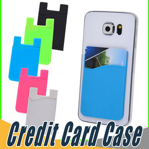 Wholesale Ultra slim Self Adhesive Credit Card Wallet Card Set Card Holder Colorful Silicon For Smartphones For iPhone X S Sumsung S8 S9 Plus