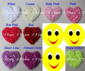Wholesale Free USA ePacket CPAP y colors quot Chiffon Rosette Hearts Shabby Chic Chiffon Heart Appliques Hair Accessories